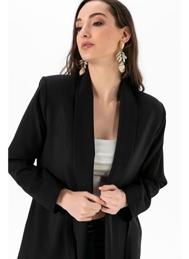 Tiffany&Tomato Beli Bağlamali Şal Yaka Keten Ceket Siyah